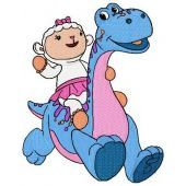 Lambie riding dinosaur embroidery design