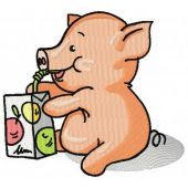 Little Piglet with apple juice machine embroidery design