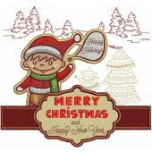Merry Christmas embroidery design 10
