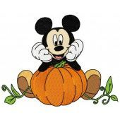 Mickey Mouse grows pumpkin machine embroidery design