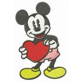 Mickey Mouse with big Valentine card embroidery design