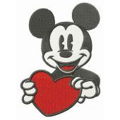 Mickey Mouse with heart card embroidery design