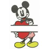 Mickey Mouse with heart monogram embroidery design