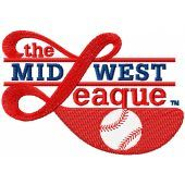 Minor League Baseball*s Midwest League logo machine embroidery design