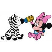 Minnie Mouse and zebra machine embroidery design