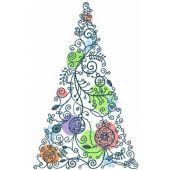 Christmas modern tree machine embroidery design