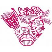Monster High drawing logo embroidery design
