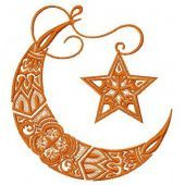 Moon and star machine embroidery design