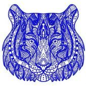 Mosaic tiger machine embroidery design 3