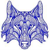 Mosaic wolf machine embroidery design 3