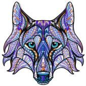 Mosaic wolf machine embroidery design