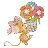 Mousekin with flower pot