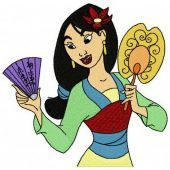Mulan with fans
