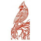 Northern cardinal on tree branch one color embroidery design