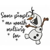 Olaf some people are worth melting for embroidery design