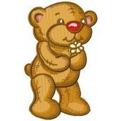 Old style teddy bear machine embroidery design