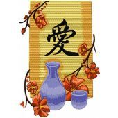 Oriental Vase with Flowers embroidery design
