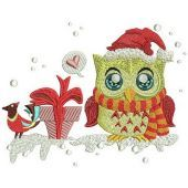 Owl's gift machine embroidery design