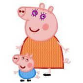 Peppa Pig with mum embroidery design