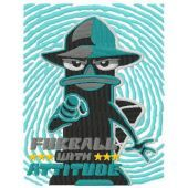 Perry the Platypus furball the attitude embroidery design