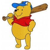 Pooh plays baseball machine embroidery design