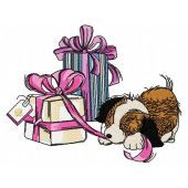 Presents for puppy machine embroidery design