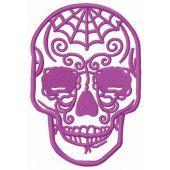 Purple skull embroidery design