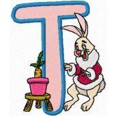 Rabbit Alphabet Letter T machine embroidery design