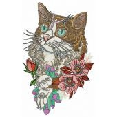 Rich cat embroidery design