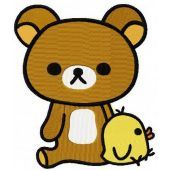 Rilakkuma with chicken machine embroidery design