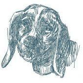 Sad dog machine embroidery design