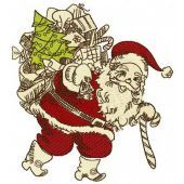 Santa Claus with presents machine embroidery design