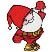 Santa waving hand machine embroidery design