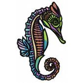 Sea horse embroidery design 7