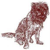Shaggy dog embroidery design