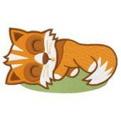 Sleeping fox embroidery design
