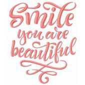 Smile you are beautiful machine embroidery design