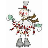 Snowman with candy cane garland 2