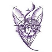 Sphynx cat geometric pattern embroidery design