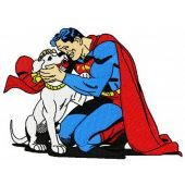 Superman with Krypto embroidery design