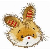 Surprised bunny embroidery design