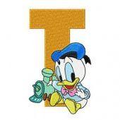 Donald Duck Letter T Train embroidery design
