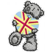 Teddy bear with gift embroidery design