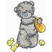 Teddy Bear feeding chickens embroidery design