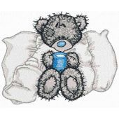 Teddy bear is sick embroidery design