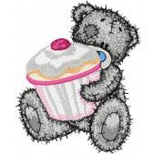 Teddy Bear with big cupcake embroidery design