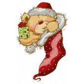 Teddy in Christmas sock machine embroidery design 2