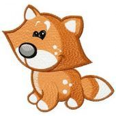 Tiny fox machine embroidery design