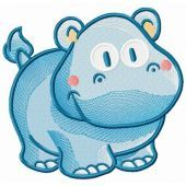 Tiny hippo embroidery design 2