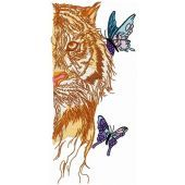 Wet tiger with butterflies